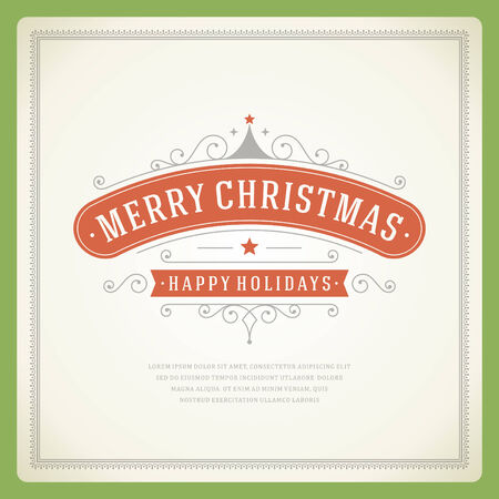 Christmas Backround and ornament decoration. Merry Christmas holidays wish greeting card or invitation design and vintage style. Happy new year message.  Vector