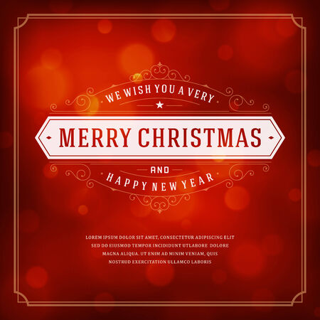 Christmas retro typography and light background. Merry Christmas holidays wish greeting card design and vintage ornament decoration. Happy new year message.  Vector