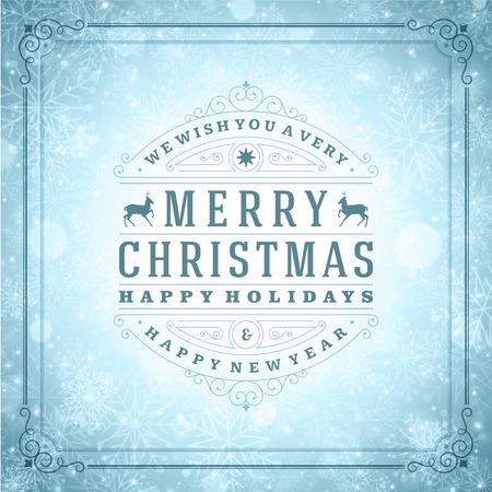 happy holidays: Kerstmis retro typografie en licht met sneeuwvlokken. Prettige kerstdagen wensen wenskaart design en vintage ornament decoratie. Gelukkig Nieuwjaar bericht. Stock Illustratie