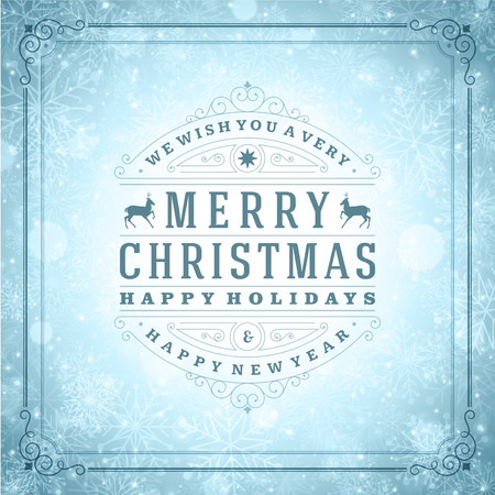 Christmas retro typography and light with snowflakes. Merry Christmas holidays wish greeting card design and vintage ornament decoration. Happy new year message.  Illustration