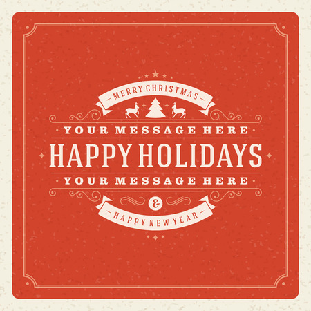 happy holidays: Christmas Backround and ornament decoration. Merry Christmas holidays wish greeting card or invitation design and vintage style. Happy new year message.