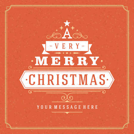 Christmas tree typography from text and ornament decoration. Merry Christmas holidays wish greeting card design and vintage background. Happy new year message.  Vector