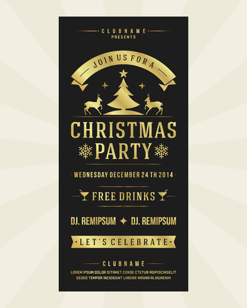 Christmas party invitation retro typography and ornament decoration. Christmas holidays flyer or poster design.  Vector