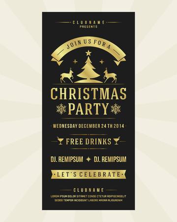 invitaci�n a fiesta: Invitaci�n de la fiesta de Navidad de la tipograf�a retro y ornamento decoraci�n. Vacaciones de Navidad Flyer o dise�o de carteles. Vectores