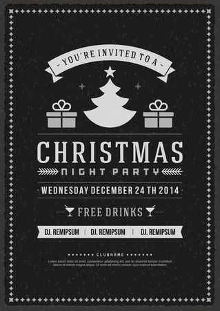 winter party: Christmas party invitation retro typography and ornament decoration. Christmas holidays flyer or poster design.