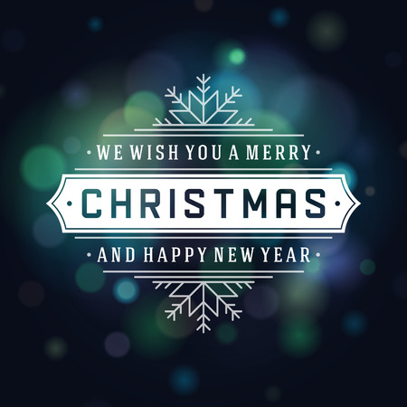 Christmas Light Background and Retro Typography. Merry Christmas holidays wish greeting card design and vintage ornament decoration. Happy new year message.