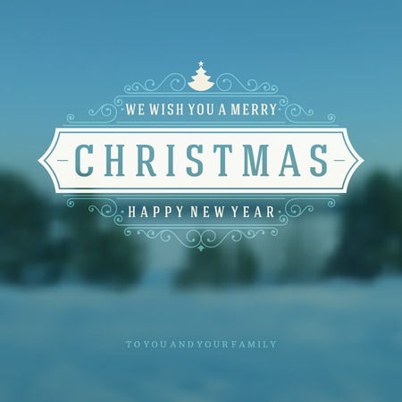 Christmas blurred landscape greeting card and light vector background. Merry Christmas holidays wish design and vintage ornament decoration. Happy new year message.  Ilustração