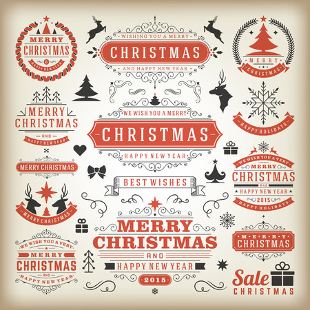 seasons greetings: Christmas decoration vector design elements. Merry Christmas and happy holidays wishes.Typographic elements, vintage labels, frames, ornaments and ribbons, set. Flourishes calligraphic. Illustration