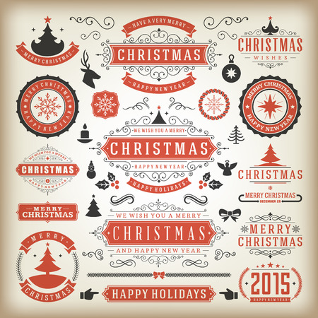 happy holidays text: Christmas decoration vector design elements. Merry Christmas and happy holidays wishes.Typographic elements, vintage labels, frames, ornaments and ribbons, set. Flourishes calligraphic. Illustration