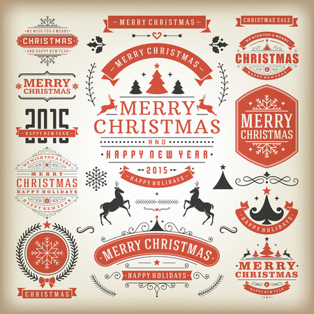 Christmas decoration vector design elements. Merry Christmas and happy holidays wishes.Typographic elements, vintage labels, frames, ornaments and ribbons, set. Flourishes calligraphic. Illustration