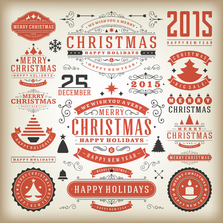 ornaments vector: Christmas decoration vector design elements. Merry Christmas and happy holidays wishes.Typographic elements, vintage labels, frames, ornaments and ribbons, set. Flourishes calligraphic. Illustration