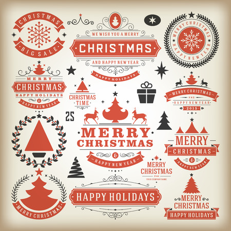 winter holidays: Christmas decoration vector design elements. Merry Christmas and happy holidays wishes.Typographic elements, vintage labels, frames, ornaments and ribbons, set. Flourishes calligraphic. Illustration