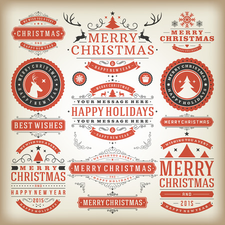 Christmas decoration vector design elements. Merry Christmas and happy holidays wishes.Typographic elements, vintage labels, frames, ornaments and ribbons, set. Flourishes calligraphic. Ilustração