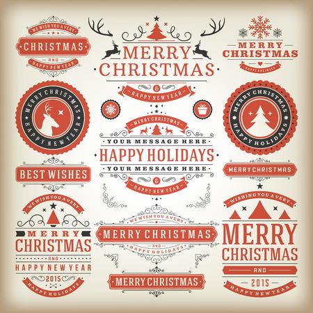 navide�os: Decoraci�n de Navidad elementos de dise�o vectorial. Feliz Navidad y felices fiestas wishes.Typographic elementos, etiquetas de �poca, cuadros, adornos y cintas, establecen. Flourishes caligr�ficos.