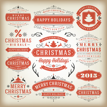 text box: Christmas decoration vector design elements. Merry Christmas and happy holidays wishes.Typographic elements, vintage labels, frames, ornaments and ribbons, set. Flourishes calligraphic. Illustration