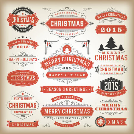 gift tag: Christmas decoration vector design elements. Merry Christmas and happy holidays wishes.Typographic elements, vintage labels, frames, ornaments and ribbons, set. Flourishes calligraphic. Illustration