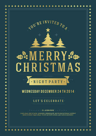 Christmas party invitation retro typography and ornament decoration. Christmas holidays flyer or poster design. Vector illustration Eps 10. Vector
