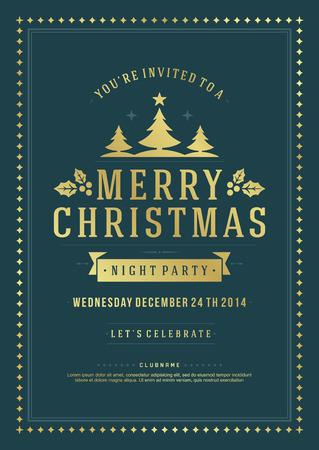Invitation de fête de Noël rétro typographie et la décoration d'ornement. Vacances de Noël dépliant ou conception de l'affiche. Vector illustration Eps 10. Vecteurs