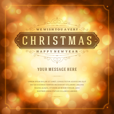 bokeh message: Christmas retro typography and light background. Merry Christmas holidays wish greeting card design and vintage ornament decoration. Happy new year message. Vector illustration Eps 10.