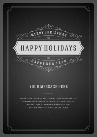 winter holidays: Christmas retro typography and ornament decoration. Merry Christmas holidays wish greeting card design and vintage background. Happy new year message. Vector illustration Eps 10.