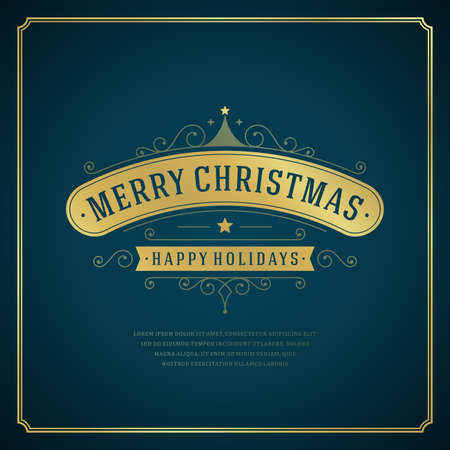 Christmas retro typography and ornament decoration. Merry Christmas holidays wish greeting card design and vintage background. Happy new year message. Vector illustration Eps 10. Vector