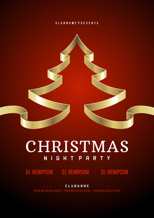 Kerstfeest uitnodiging retro typografie en ornament decoratie. Kerstvakantie flyer of poster te ontwerpen. Vector illustratie eps 10.