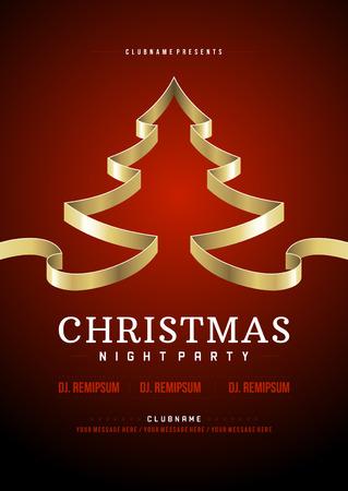 Weihnachtsparty Einladung Retro Typografie und Ornament Dekoration. Weihnachten Flyer oder Poster-Design. Vektor-Illustration Eps 10. Standard-Bild - 33258820