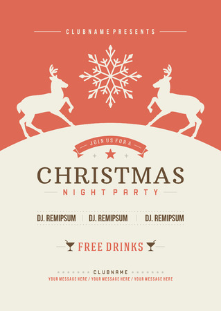 christmas parties: Christmas party invitation retro typography and ornament decoration. Christmas holidays flyer or poster design. Vector illustration Eps 10. Illustration