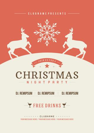 weihnachtsschleife: Weihnachtsparty Einladung Retro Typografie und Ornament Dekoration. Weihnachten Flyer oder Poster-Design. Vektor-Illustration Eps 10.
