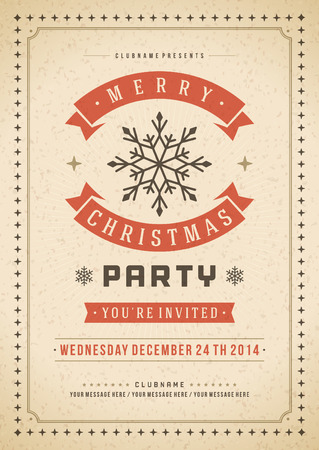 christmas party: Christmas party invitation retro typography and ornament decoration. Christmas holidays flyer or poster design. Vector illustration Eps 10. Illustration