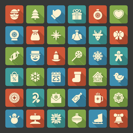 Christmas icons vector set. Christmas decorations objects and symbols collection. Vector