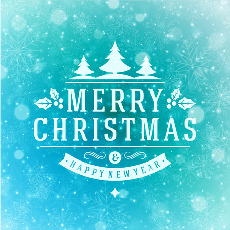 Christmas Light and Snowflakes Background Retro Typography. Merry Christmas holidays wish greeting card design and vintage ornament decoration. Happy new year message. Vector illustration Eps 10. Ilustração