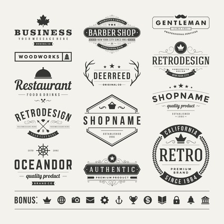 insignias: Retro Insignias de la vendimia o conjunto de iconos. Elementos del vector de diseño, negocios signos, iconos, identidad, etiquetas, escudos y objetos. Vectores