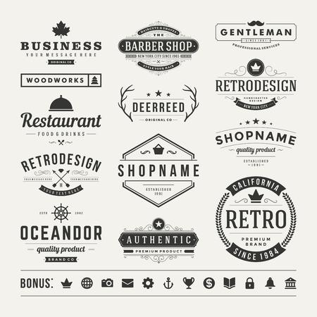 vintage: Retro Vintage Insignias veya simge seti. Vektör tasarım öğeleri, iş işaretler, simgeler, kimlik, etiketler, rozetler ve nesneler. Çizim