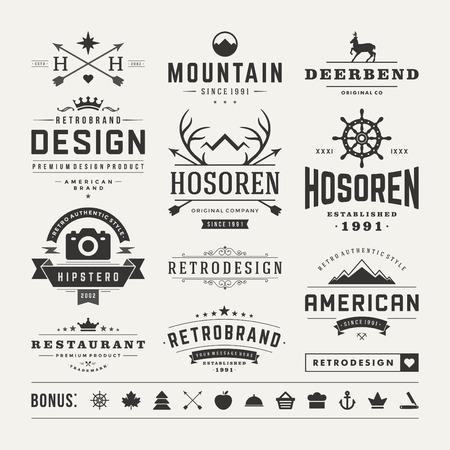 bağbozumu: Retro Vintage Insignias ya Logolar ayarlayın. Vektör tasarım öğeleri, iş işaretler, logolar, kimlik, etiketler, rozetler ve nesneler.