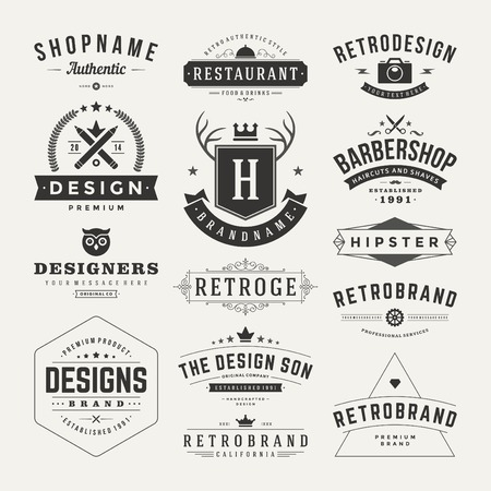 vendimia: Retro Insignias o iconos serie Vintage. Elementos del vector de diseño, negocios signos, iconos, identidad, etiquetas, escudos y objetos. Vectores