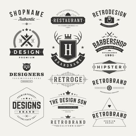 vintage: Retro Vintage Insignias veya simgeler ayarlayın. Vektör tasarım öğeleri, iş işaretler, simgeler, kimlik, etiketler, rozetler ve nesneler.