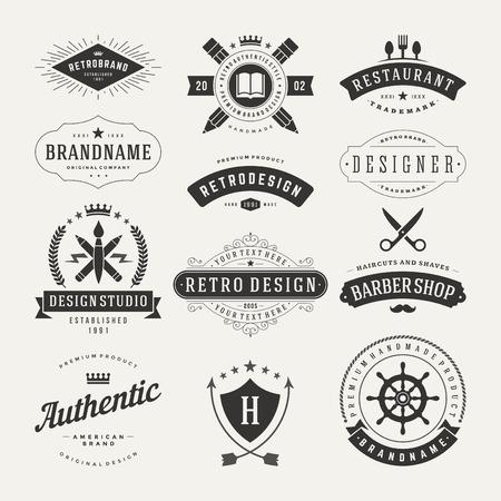 barbero: Retro Insignias o iconos de la vendimia fijados. Elementos del vector de dise�o, negocios signos, iconos, identidad, etiquetas, escudos y objetos.