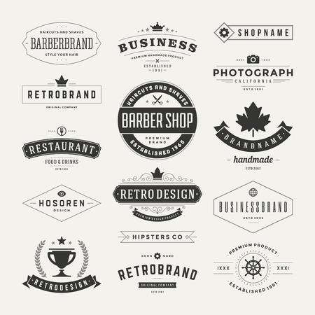 vintage: РЕТРО гербам и набор иконок. Векторные элементы дизайна, бизнес-знаки, значки, идентичность, этикетки, значки и объекты. Иллюстрация