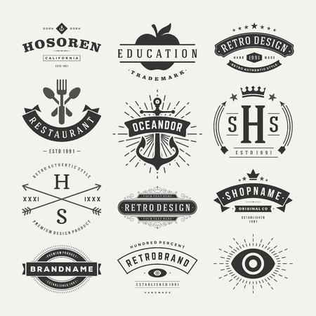 Retro insígnias ou ícones Vintage definido. Elementos do projeto do vetor, negócio sinais, ícones, identidade, etiquetas, emblemas e objetos. Ilustração
