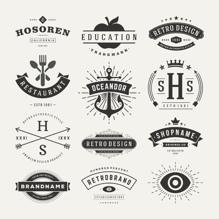 vintage: Retro Insignias o iconos serie Vintage. Elementos del vector de diseño, negocios signos, iconos, identidad, etiquetas, escudos y objetos. Vectores