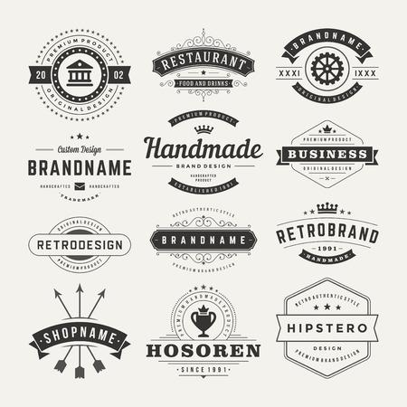 sello: Retro Insignias o iconos de la vendimia fijados. Elementos del vector de dise�o, negocios signos, iconos, identidad, etiquetas, escudos y objetos.