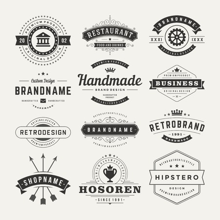 Retro Vintage Insignias of pictogrammen instellen. Vector design elementen, bedrijfsleven tekenen, pictogrammen, identiteit, etiketten, insignes en objecten.
