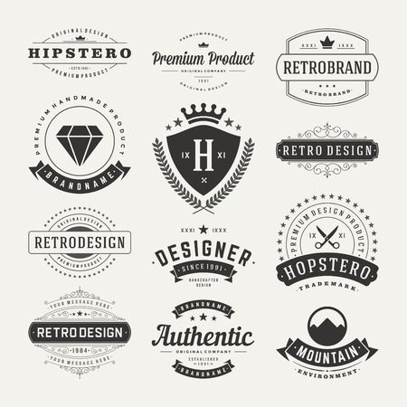 vendimia: Retro Insignias o iconos de la vendimia fijados. Elementos del vector de diseño, negocios signos, iconos, identidad, etiquetas, escudos y objetos.