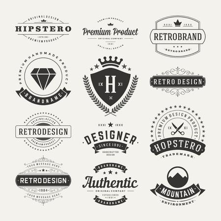 Retro Vintage Insignias of pictogrammen instellen. Vector design elementen, bedrijfsleven tekenen, iconen, identiteit, etiketten, badges en objecten. Stock Illustratie