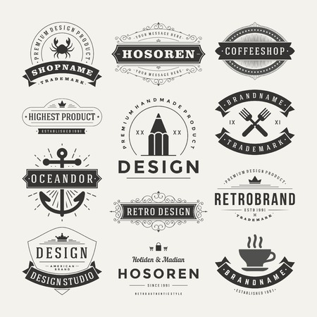 name badge: Retro Vintage Insignias or icons set. Vector design elements, business signs, icons, identity, labels, badges and objects. Illustration