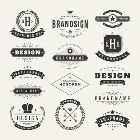 merken: Retro Vintage Insignias of Logos ingesteld. Vector design elementen, bedrijfsleven tekenen, logo's, identiteit, etiketten, badges en objecten.