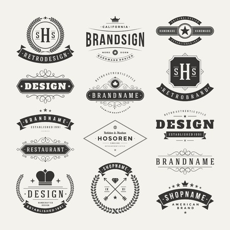with sets of elements: Retro Vintage Insignias or Logotypes set. Vector design elements, business signs, logos, identity, labels, badges and objects.
