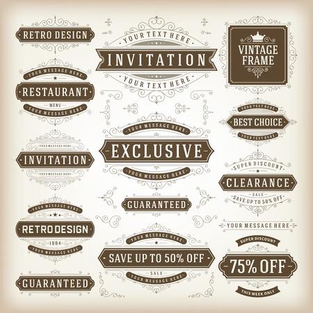 Vector vintage design elements. Premium quality labels, badges, icons, insignias, ornaments decorations, stamps, frames, sale signs best choice set. Retro style typographic flourishes elements. Vector