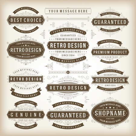Vector vintage design elements. Premium quality labels, badges, icons, insignias, ornaments decorations, stamps, frames, sale signs best choice set. Retro style typographic flourishes elements.